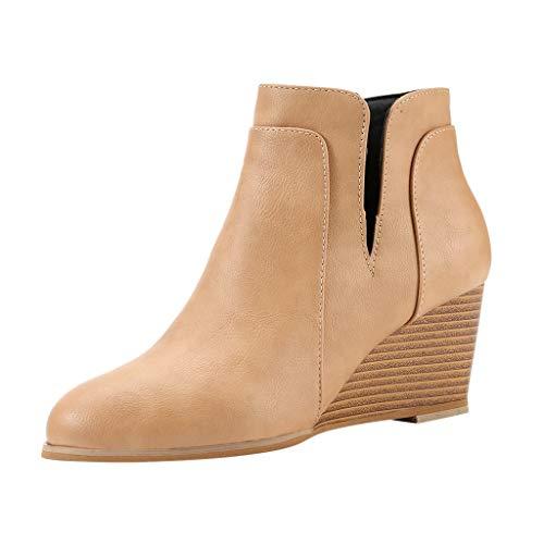 Chelsea Boots Damen Stiefeletten aus Kunstleder, Keilabsatz, Retro-Stiefel, für Herbst und Winter, bequem, Casualstiefel