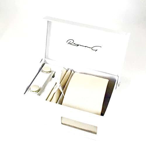 Raymon G Mens Fashion Tie Tie Clip Pocket Square Cufflinks Solid Gift Bundle