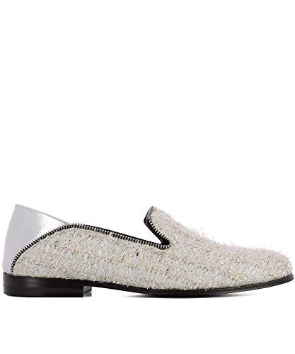 Alexander McQueen Women's 520086W4i219268 White Fabric Loafers by Alexander McQueen