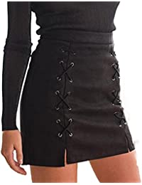 Womens High Waist Criss Cross Tight Bandage Suede Leather Preppy Mini Pencil Skirt