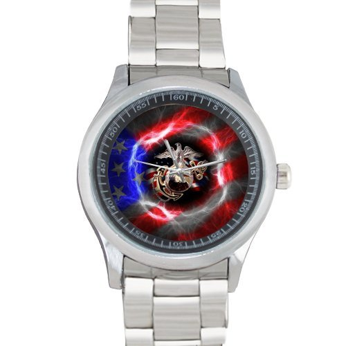 USMC United States Marine Corps Logo and American Flag Custom Mens Stainless Steel Watch Sliver Metal Case Tempered Glass Leather Band