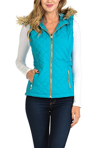 - Auliné Collection Womens Quilted Zip Up Lightweight Padding Vest Fur Hood ZP Emerald L