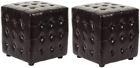 Safavieh Hudson Collection Maddox Leather Square Ottoman
