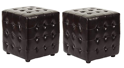 Bicast Leather 2 Piece - Safavieh Hudson Collection Maddox Leather Square Ottoman, Brown, Set of 2