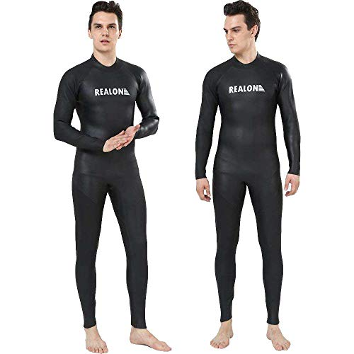 Realon Triathlon Wetsuit Men 3mm Open Water Trisuit Ironman Wear Surfing Suit Jumpsuit (3mm Triathlon Black, X-Large)