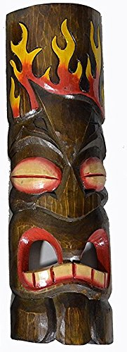 20'' HAND CARVED LEAF AND FLAME TIKI MASK HAWAIIAN POLYNESIAN WALL ART TRIBAL BAR TROPICAL by WorldBazzar
