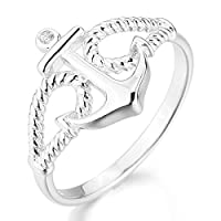 INBLUE Women's 925 Sterling Silver Ring CZ Silver Tone Anchor Nautical