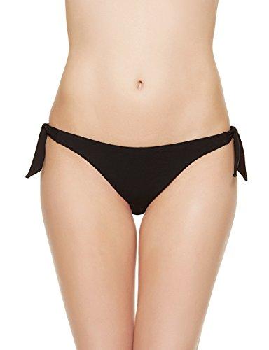 (EONAR Womens Cheeky Bottom Tieside Brazilian Bikini Briefs Sweetheart Hipster (S,Black))