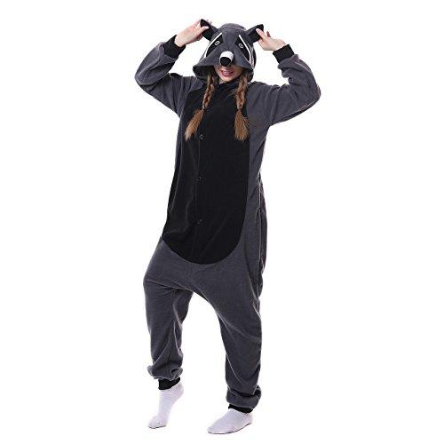 Winnie The Pooh And Piglet Couple Costume (ROYAL WIND Unisex-adult Kigurumi Animal Cosplay Costume Pajamas (X-Large, Gray raccoons))