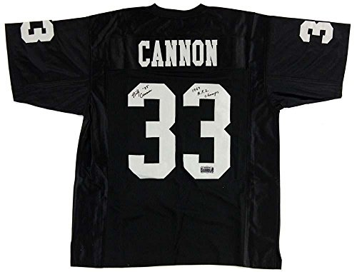 "Billy Cannon Signed Oakland Raiders Black Custom Jersey with ""1967 AFL Champs"" Inscription - Autographed NFL Jerseys"