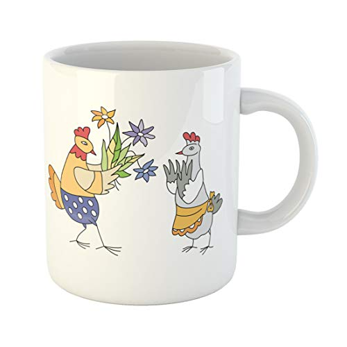 Semtomn Funny Coffee Mug Animal Chicken Gets of Flowers Anniversary Birthday Bouquet Bright 11 Oz Ceramic Coffee Mugs Tea Cup Best Gift Or Souvenir