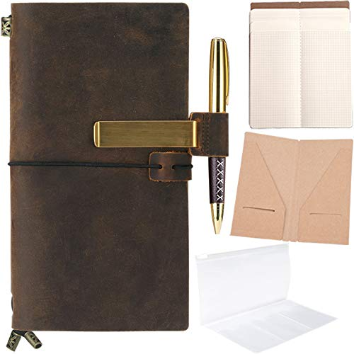 - Refillable Leather Journal Refillable Travelers Notebook for Men 8.5 x 4.5 Leather Travel Journal with 5 Inserts Travel Diary Planner for Women Vintage Antique TN Standard Notebooks