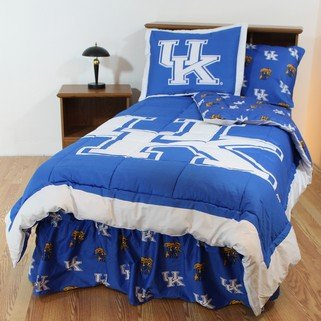 Kentucky Wildcats 8 pc. QUEEN Size Bed in a Bag Comforter Set - Entire Set Includes: (1) QUEEN Reversible Comforter, (2) Standard Pillow Shams, (1) QUEEN Flat Sheet, (1) QUEEN Fitted Sheet, (2) Standard Pillow Cases and (1) QUEEN Bedskirt - Save Big By Bundling!