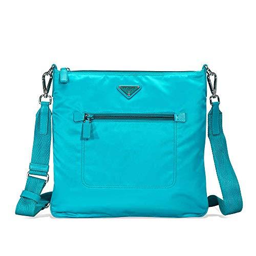 - Prada Nylon and Leather Crossbody Bag- Turquoise