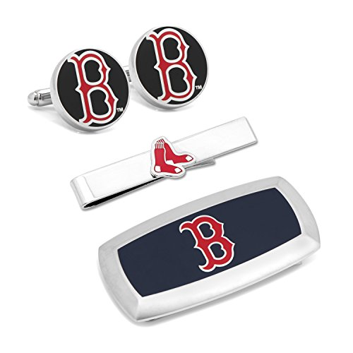 Cufflinks Inc Metal Mens Jewelry Sets Boston Red Sox 3-Piece Cushion Gift Set Silver Model # PD-SOX-3P2 (Silver Red Sox Boston Cufflinks)