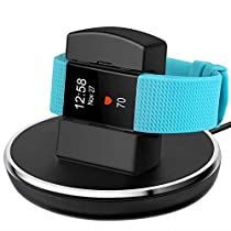 Finetop Compatible with Fitbit Charge 2 Charger, Compatible with Fitbit Charge 2 Charging Replacement Accessories Stand Dock Station 3 ft Charging Cable Smart Watch Black
