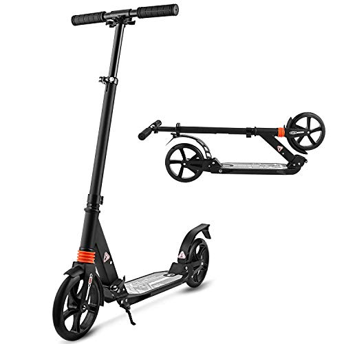 MONODEAL Adjustable Height Scooter, 2 Wheel Teen/Adult Kick Scooter with Aluminum Alloy Frame, Front & Rear Spring Shock-Absorbing System, Easy-Folding, Adjustable T Handlebar - 180lb Weight ()