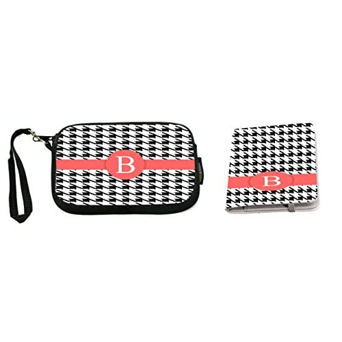 "Rikki Knight Letter ""B"" Lime Green Houndstooth Monogram Design Neoprene Clutch Wristlet with Matching Passport Holder"