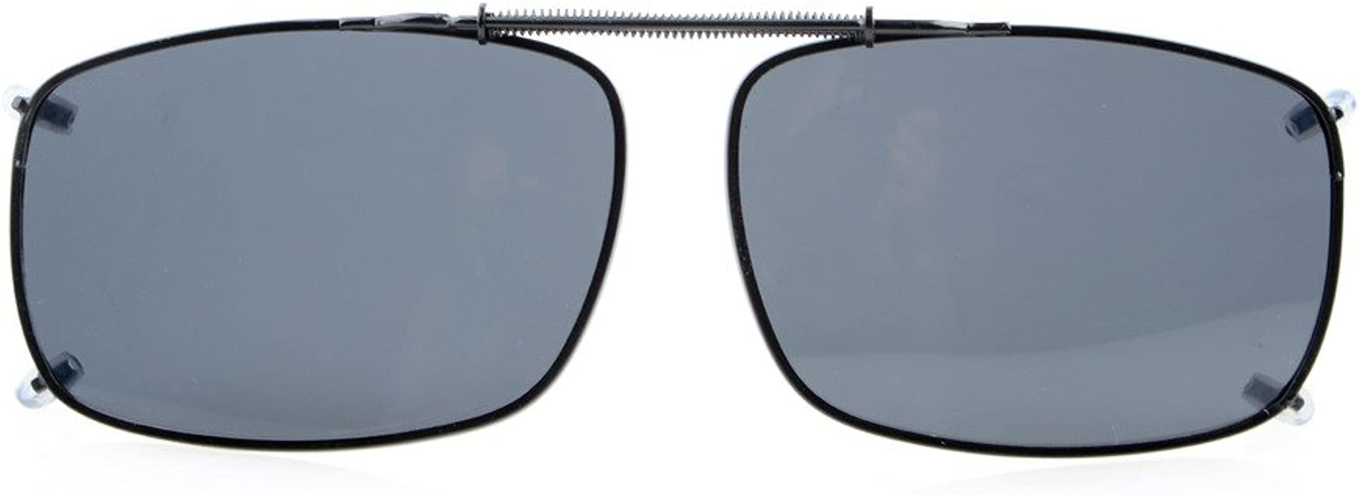 031b301625f0 Eyekepper 58x38 MM Large Clip On Sunglasses With Spring Draw Bar Polarized  Grey Lens  Amazon.co.uk  Clothing