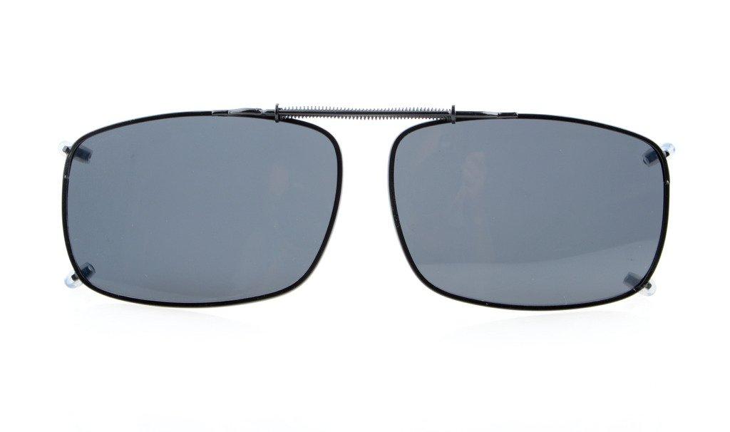 Eyekepper 58x38 MM clip su occhiali da sole con molla di traino polarizzata Grey Lens