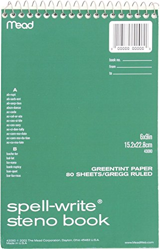 Spell-Write Steno Book, Gregg Rule, 6 x 9, Green, 80 Sheets/Pad -