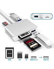 【Upgraded Version】 XQD Card Reader USB 3.0 SD(HC/XC) TF Card Reader,XQD Reader Compatible with Sony G/M Series USB Mark XQD Card,Lexar 2933x/1400x USB Mark XQD Card,SD/SDHC TF Card for Windows/Mac OS