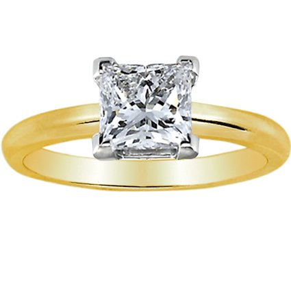 Near 1/2 Carat Princess Cut Diamond Solitaire Engagement Ring 14K Yellow Gold V Prong (H-I, VS1-VS2, 0.45 c.t.w) Very Good Cut