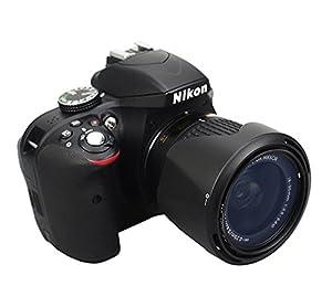 Fotasy Bayonet Lens Hood for Nikon 1 NIKKOR VR 10-100mm f/4-5.6/ Nikon AF-P DX NIKKOR 18-55mm f/3.5-5.6G VR/Nikon AF-P DX NIKKOR 18-55mm f/3.5-5.6G, Replaces Nikon HB-N106 (Color: Black, Tamaño: for HB-N106)