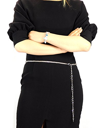 Silver Chain Belt Link Tone (NYFASHION101 Silver-Tone Dressy Adjustable Single Link Belly Chain Belt IBT1013R)