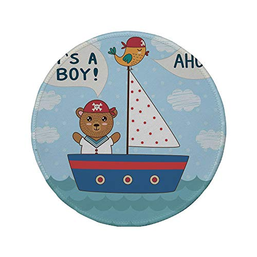 Non-Slip Rubber Round Mouse Pad,Ahoy Its a Boy,Cute Baby Shower Theme Its a Boy in Nautical Style Bear and Bird in Boat,Multicolor,7.87