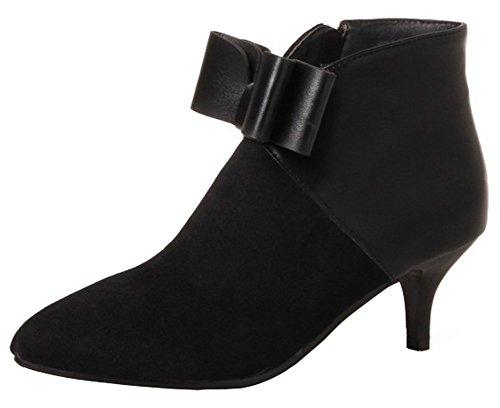 Mofri Women's Dressy Bowknot Side Zipper Short Boots Color Block Splicing Pointed Toe Kitten Heel Ankle Booties (Black, 12 B(M) US) by Mofri