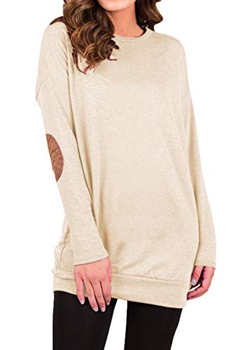 4511d0a2e5a Kisscynest Women s Crewneck Elbow Patchwork Tunic Sweatshirt ...