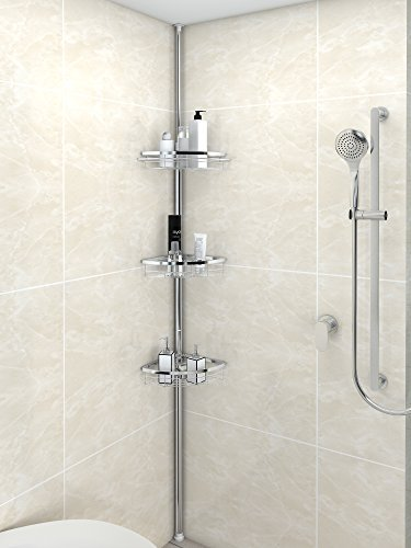 Lifewit Corner Shower Caddy 3 Tier Adjustable Bathroom Constant Tension  Corner Pole Caddy Free Standing Shower