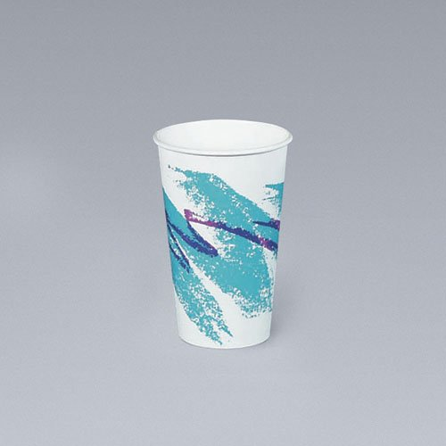 SOLO® Cup Company Jazz Hot Paper Cups, 10 oz., Polycoated, Jazz Design, 50/Bag