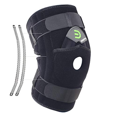DISUPPO Knee Brace with Double Side Spring Stabilizers, Open Patella Adjustable Knee Support Stabilizer for Arthritis, Joint Pain, Meniscus, Injury Recovery, Tendonitis, Women Men (Spring, 2XL)