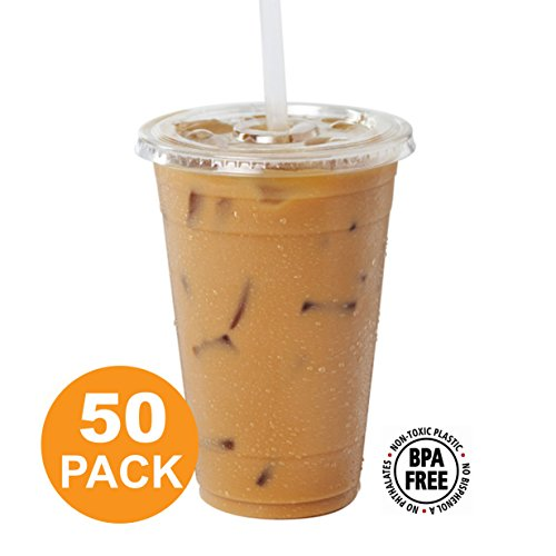 Clear Plastic Cups with Flat Slotted Lids for Iced Cold Drinks 20 Ounce, Disposable, Large Size [50 Pack] by Fit Meal Prep