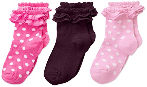 Girl Country Socks - Country Kids Little Girls' Pima Ruffle 3 Pr, Pink/Bubblegum/Black Berry, Sock Size 7-8/4-7 Years
