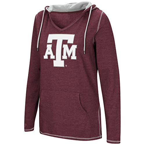 Colosseum Women's NCAA-Scream It!- Dual Blend-Fleece V-Neck Hoodie Pullover Sweatshirt-Texas A&M Aggies-Maroon-Small