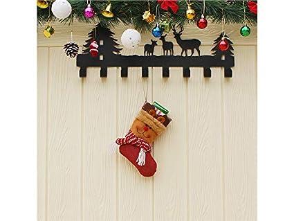SOPOUITRO Exterior Interior Calcetines de Navidad Elk no Tejidos Bolsa de Dulces Bolsa de Regalos Colgante