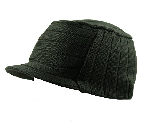 RW Knit Ribbed Flat Top Jeep Cap (Olive Green) ()