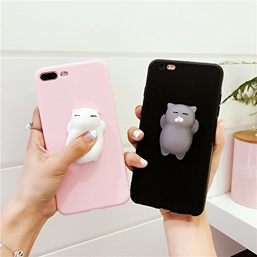 Sufang Squishy 3D Pinch Poke Silicone Cat Squishy TPU Case Cover for Iphone5/5s/se 6/6s 6/6s Plus 7 7plus HUAWEI mate9 p10 p10 plus nova mate8 Black iphone 6 6s plus