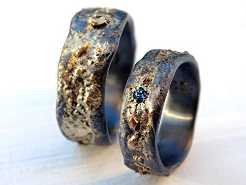 (viking wedding band set, matching wedding rings gold silver, gemstone wedding ring set, celtic wedding bands molten surface, unique ring set)
