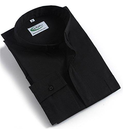 Ivyrobes Camisa para sacerdotes con alzador De Manga Larga Negro