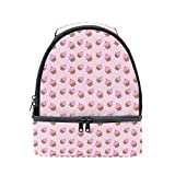 Lunch Tote Kawaii Pink Cherry Cupcake Mens Insulated Lunch Bag Zipper Kids Lunch Box