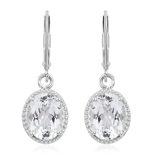 Sterling Silver Platinum Plated Oval Golconda Diamond Topaz Lever Back Earrings for Teen Girls Cttw 5.1 -