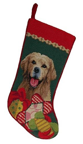 Stockings Golden Retriever Christmas (Golden Retriever Gifts Dog Wool Needlepoint Christmas Stocking)