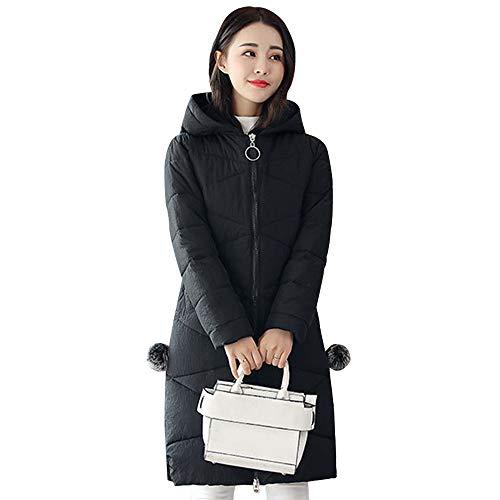 KINDOYO Abrigos Mujer - Moda Abrigo Acolchado Invierno Chaqueta Largo con Capucha Tallas Grandes, Negro/4XL