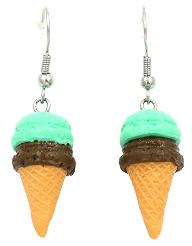 Polymer clay handmade Ice cream cone with chocolate and mint ice cream earrings (Icecream Cone Earrings compare prices)