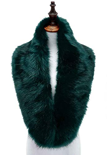 Changuan Extra Large Women's Faux Fur Collar Shawl Wraps Stole Cloak Evening Cape for Winter Coat Dark Green 125cm