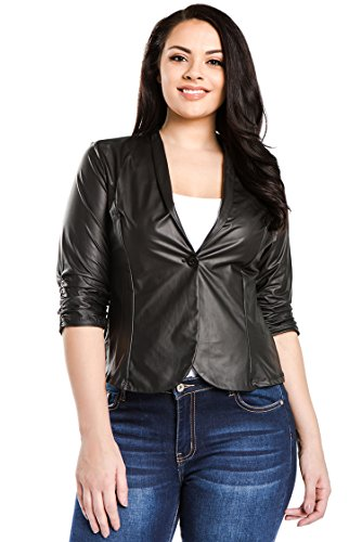 Bubble B Women's Plus Size Faux Leather Jacket 3/4 Sleeve Blazer Black (3/4 Sleeve Leather Jacket)